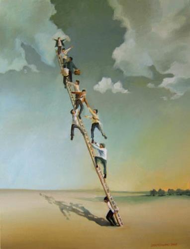 Gregor Ziolkowski, AUF DER LEITER, Gesellschaft, Arbeitswelt, Surrealismus, Abstrakter Expressionismus