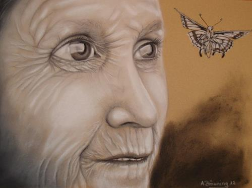 Andrea Bräuning, die Ahnung, Menschen: Gesichter, Realismus, Abstrakter Expressionismus