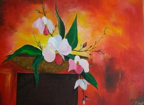 Orchidee von artdesign elke kraft pflanzen blumen malerei - Acrylbilder vorlagen kostenlos ...
