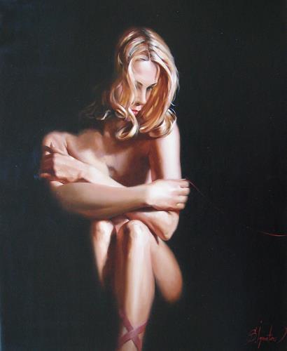 Sergey Ignatenko, Red thread, Akt/Erotik: Akt Frau, Menschen: Frau, Neo-Impressionismus, Expressionismus