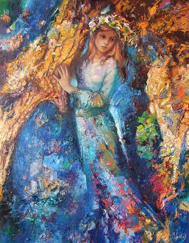 Sergey Ignatenko, Fairy forest, Menschen: Frau, Märchen, Neo-Impressionismus, Expressionismus