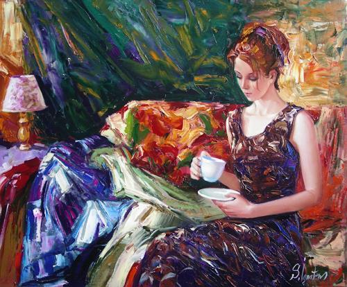 Sergey Ignatenko, Evening coffee, Menschen: Frau, Expressionismus