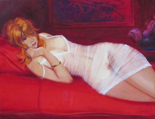 Sergey Ignatenko, White and red, Akt/Erotik: Akt Frau, Menschen: Frau, Postimpressionismus