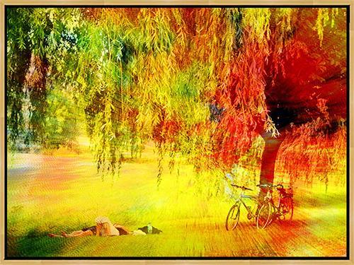 Lee Eggstein, Sleeping in the park, Menschen, Natur, Neo-Impressionismus