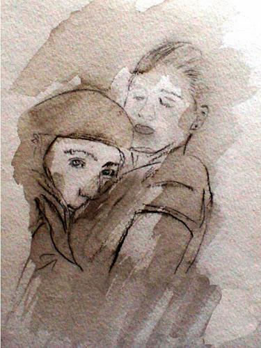 Lee Eggstein, JUGENDLIEBE, Menschen: Paare, Gefühle: Liebe, Gegenwartskunst, Expressionismus