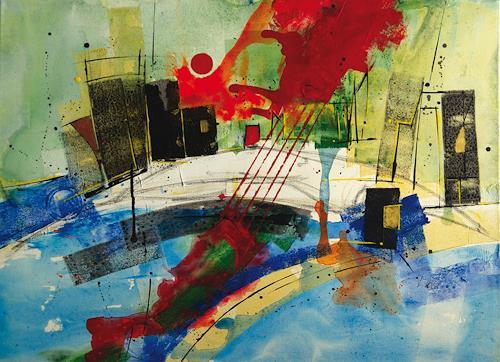 Rainer Kreß, Stadt- Nackt- Fluss, Abstraktes, Neue Wilde, Abstrakter Expressionismus
