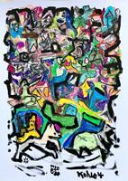 Hans-Salomon-Schneider-Abstraktes-Diverse-Tiere-Moderne-Abstrakte-Kunst-Action-Painting