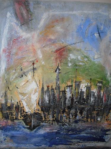 Acryl-Power, Skyline Hongkong, Abstraktes, Abstrakter Expressionismus, Expressionismus, Moderne