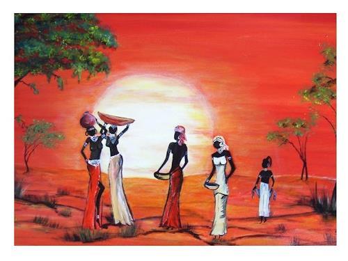 Acryl-Power, Abend in Afrika, Menschen: Gruppe, Landschaft: Tropisch, Gegenwartskunst