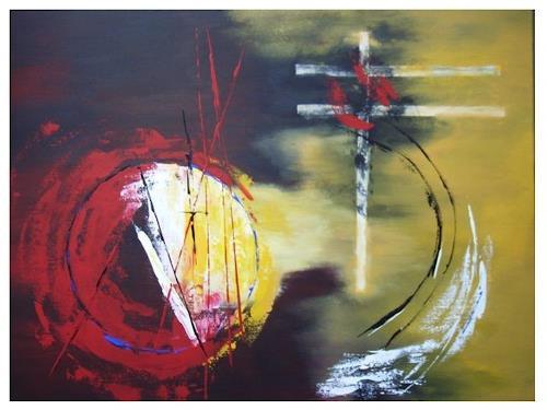 Acryl-Power, Energieausbruch in einer anderen Welt, Abstraktes, Mythologie, Abstrakte Kunst, Moderne