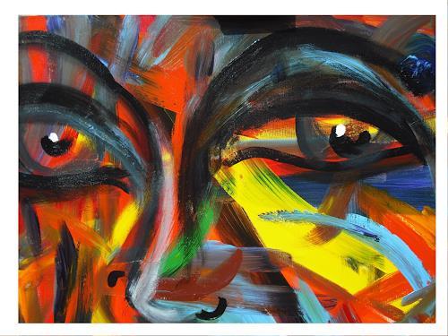 Acryl-Power, Gesicht-Expressiv, Abstraktes, Menschen: Gesichter, Abstrakter Expressionismus, Expressionismus, Moderne