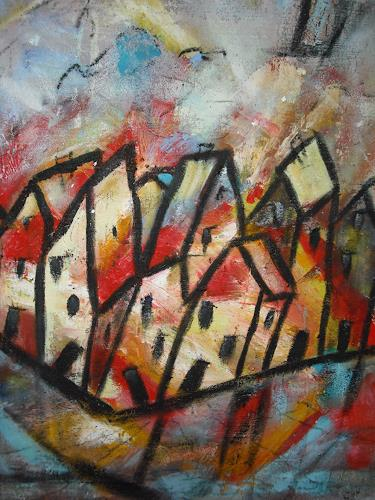 Acryl-Power, Ausschnitt Künstlerdorf, Abstraktes, Architektur, Abstrakter Expressionismus, Expressionismus, Moderne