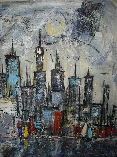 Acryl-Power, Skyline Singapur, Abstraktes, Diverse Bauten, Abstrakter Expressionismus, Expressionismus, Moderne
