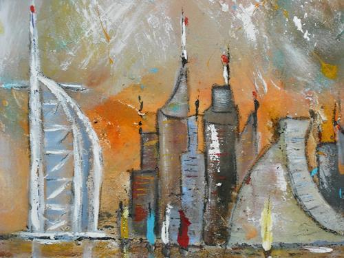 Acryl-Power, Skyline Dubai ( Bildausschnitt), Bauten: Hochhaus, Architektur, Abstrakter Expressionismus