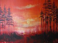 Acryl-Power-Landschaft-Sommer-Abstraktes-Moderne-Moderne