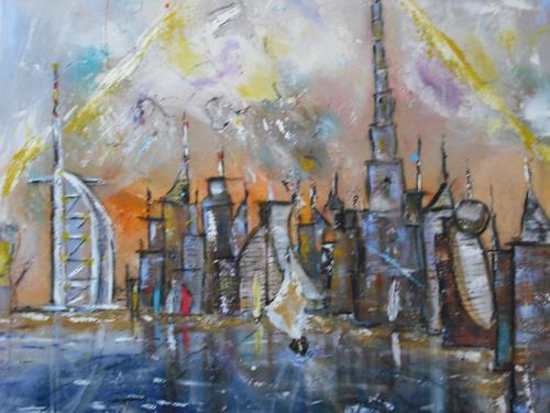 Acryl-Power, Skyline Dubai, Abstraktes, Diverse Bauten, Abstrakter Expressionismus, Expressionismus, Moderne