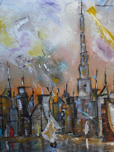 Acryl-Power, Skyline Dubai  Ausschnitt Burj Khalifa, Architektur, Bauten: Hochhaus, Abstrakter Expressionismus, Expressionismus, Moderne