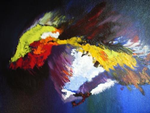 Acryl-Power, Flügelschlag, Abstraktes, Tiere: Luft, Moderne