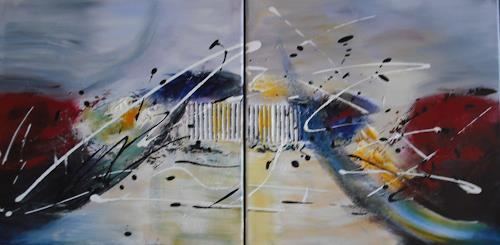 Acryl-Power, getrennt und doch vereint, Abstraktes, Bewegung, Moderne