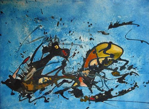 Acryl-Power, Seeadler zum Fisch:Werde dich schon fangen!!!, Abstraktes, Diverse Tiere, Abstrakte Kunst, Moderne