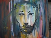 Acryl-Power-Abstraktes-Menschen-Gesichter-Gegenwartskunst-Gegenwartskunst