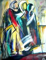 Acryl-Power-Menschen-Gruppe-Mythologie-Moderne-Abstrakte-Kunst