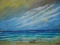 Acryl-Power-Landschaft-See-Meer-Abstraktes-Moderne-Expressionismus-Abstrakter-Expressionismus