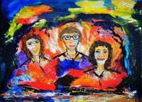Acryl-Power-Menschen-Familie-Abstraktes-Moderne-Expressionismus-Abstrakter-Expressionismus