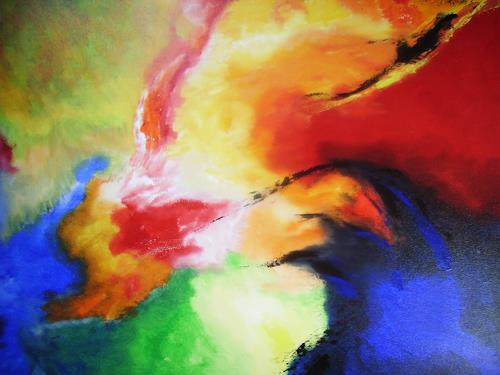 Acryl-Power, Feuervogel, Abstraktes, Fantasie, Gegenwartskunst
