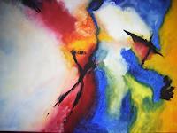 Acryl-Power-Abstraktes-Fantasie-Gegenwartskunst--Gegenwartskunst-