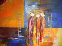 Acryl-Power-Diverses-Menschen-Gruppe-Moderne-Moderne