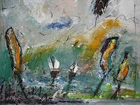 Acryl-Power-Abstraktes-Landschaft-See-Meer-Moderne-Expressionismus-Abstrakter-Expressionismus