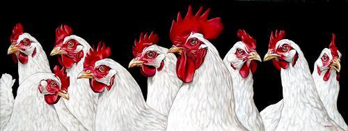 Clara Bastian, Der Hahn und die Hühner, Tiere: Land, Tiere: Luft, Realismus, Expressionismus