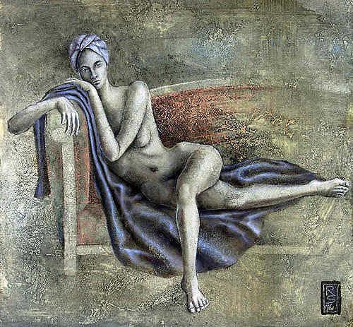 Roman Sprenger, akt auf couch, Akt/Erotik: Akt Frau, Menschen: Frau, Expressionismus