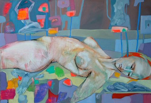 Johanna Leipold, Blumen im Asphalt, Akt/Erotik: Akt Frau, Fantasie, expressiver Realismus, Abstrakter Expressionismus