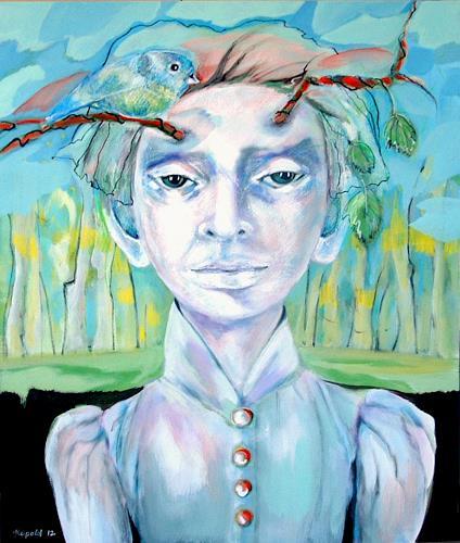 Johanna Leipold, Hast Du eine *Meise*?, Menschen: Gesichter, Fantasie, expressiver Realismus, Abstrakter Expressionismus