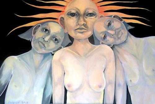Johanna Leipold, Mutter Sonne, Fantasie, Menschen: Gruppe, expressiver Realismus, Abstrakter Expressionismus