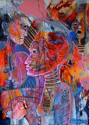 Johanna Leipold, Ich hab´dich in mein Herz geschlossen, Menschen: Gruppe, Gefühle: Liebe, expressiver Realismus