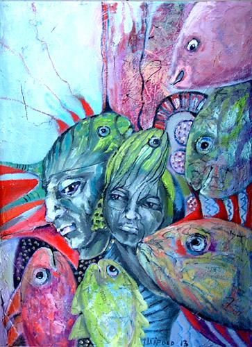 Johanna Leipold, Die Fisch-Liebhaber, Fantasie, Menschen: Gruppe, expressiver Realismus, Abstrakter Expressionismus