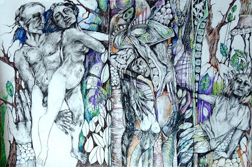 Johanna Leipold, DAPHNE, Mythologie, Menschen: Paare, expressiver Realismus, Abstrakter Expressionismus