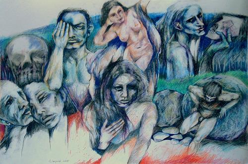 Johanna Leipold, Die dunklen Goetter Griechenlands, Mythologie, Menschen: Gruppe, expressiver Realismus, Abstrakter Expressionismus