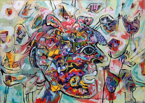 Johanna Leipold, Chaos im Kopf, Menschen: Gesichter, Skurril, expressiver Realismus, Abstrakter Expressionismus