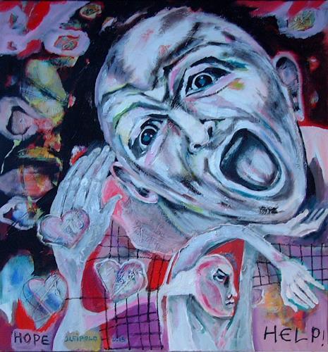 Johanna Leipold, HELP!, Gesellschaft, Gefühle, expressiver Realismus, Abstrakter Expressionismus