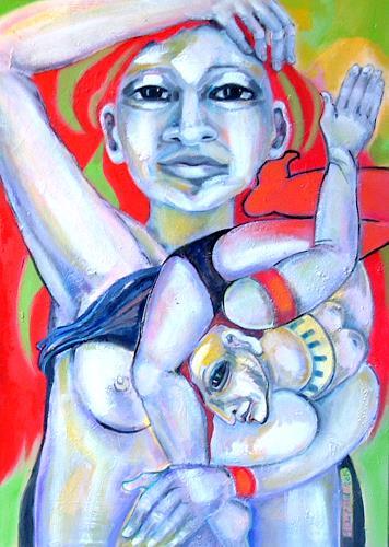 Johanna Leipold, Hier leb´ich in mich hinein..., Menschen, Fantasie, expressiver Realismus, Abstrakter Expressionismus