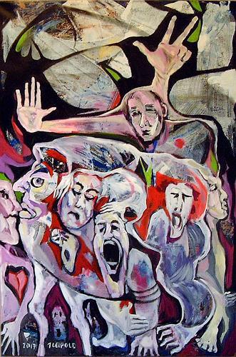 Johanna Leipold, Der Moloch, Menschen: Gruppe, Gefühle: Trauer, expressiver Realismus, Abstrakter Expressionismus