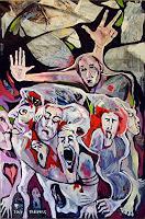 Johanna-Leipold-Menschen-Gruppe-Gefuehle-Trauer-Moderne-expressiver-Realismus