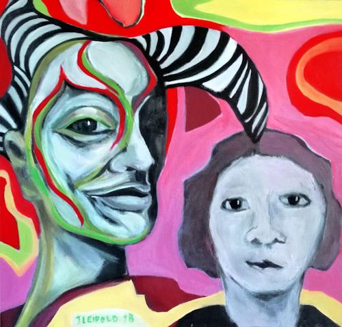 Johanna Leipold, Mephisto und die Unschuld, Menschen: Gruppe, Fantasie, expressiver Realismus, Abstrakter Expressionismus