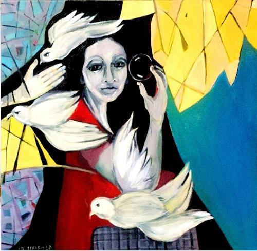 Johanna Leipold, Friedens-Tauben, Menschen: Frau, Natur, expressiver Realismus