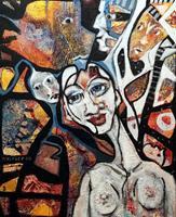 Johanna-Leipold-Menschen-Gruppe-Gefuehle-Freude-Moderne-expressiver-Realismus