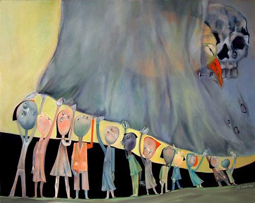 Johanna Leipold, Die Decke der Erinnerung, Gefühle: Trauer, Menschen: Gruppe, expressiver Realismus, Abstrakter Expressionismus